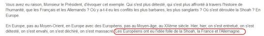 Capture d'écran - Site web de l'Elysée