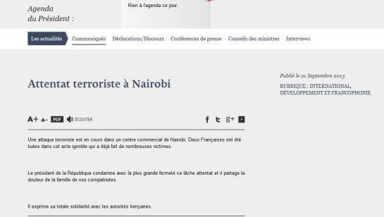 Elysée_communiqué Nairobi