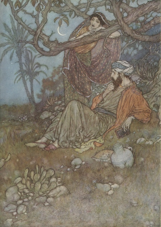 Ici, avec un peu de pain sous les branches, une cruche de vin, un livre de Vers, et toi, chantant près de moi dans la solitude sauvage, oh ! cette solitude serait pour moi un paradis ! (Illustration : Edmond Dulac, 1909)