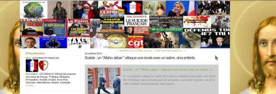 """Capture d'écran du blog chrétien et nationaliste """"Croyants et Français"""" du 22 octobre"""